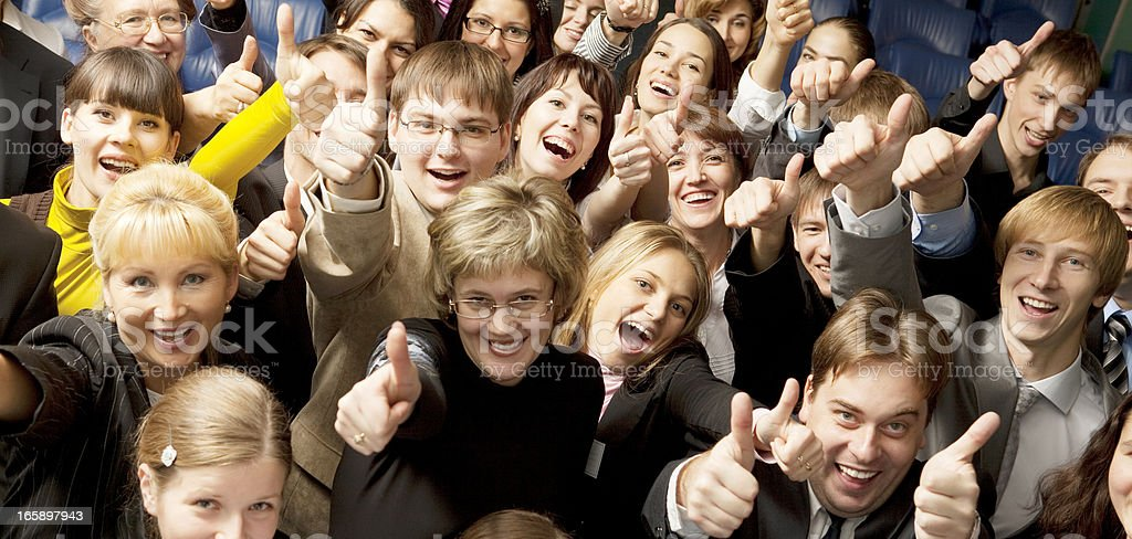 Happy Crowd with Thumb Up. stock photo