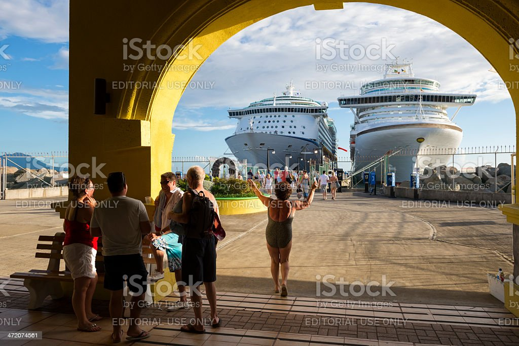 Happy cruise life in St. Kitts stock photo