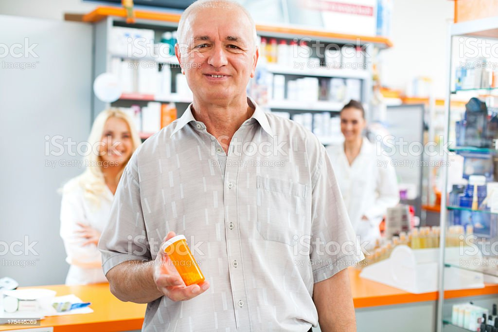 Happy customer at the pharmacy royalty-free stock photo