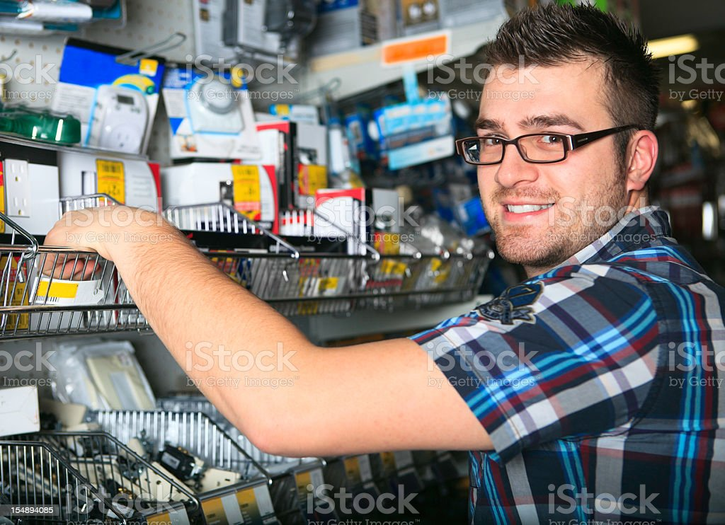 Happy Customer Shopping Hardware Store royalty-free stock photo