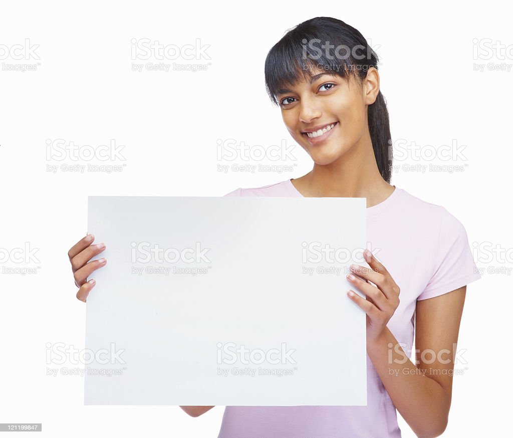 Happy cute female with a blank billboard on white royalty-free stock photo