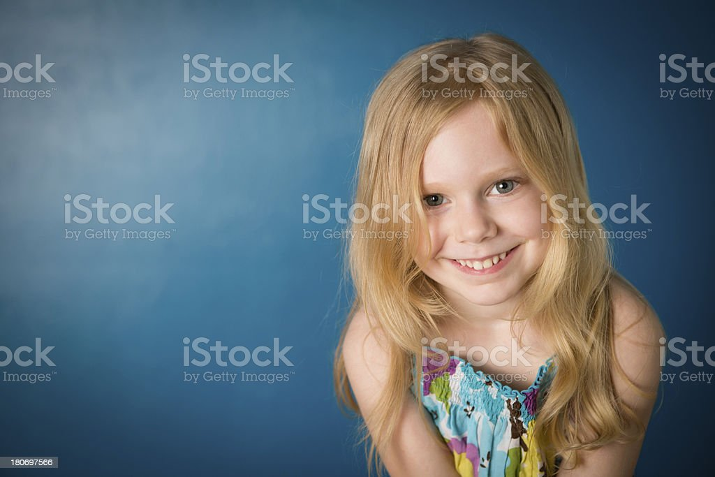 Happy, Cute Five Year Old Girl With Blond Hair royalty-free stock photo