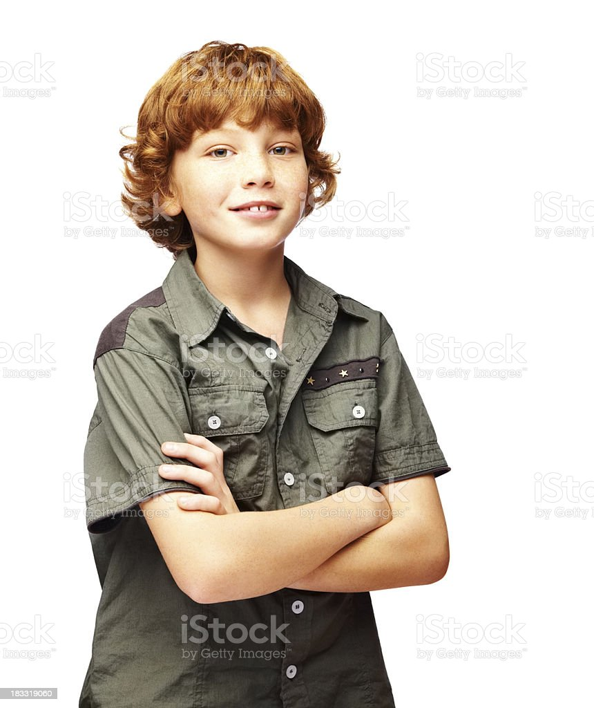 Happy, cute kid with arms crossed isolated on white royalty-free stock photo