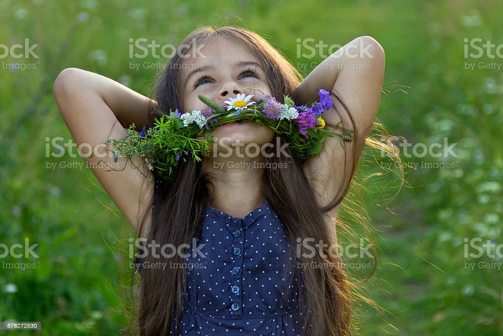 Happy cute little girl on the summer meadow stock photo