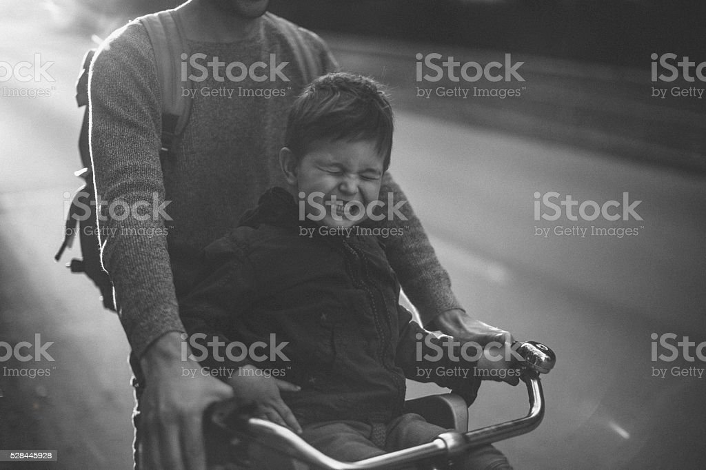 Happy cyclist stock photo