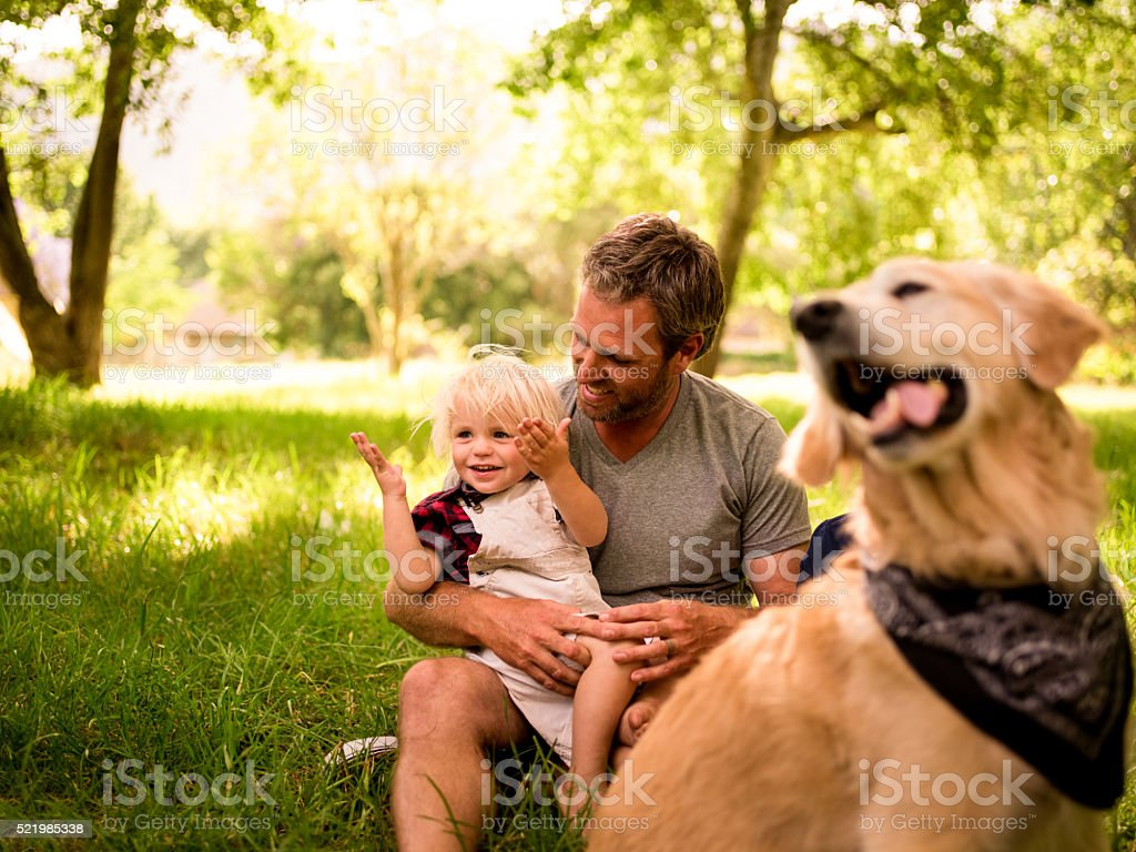 Happy dad embracing and holding his son on the legs stock photo