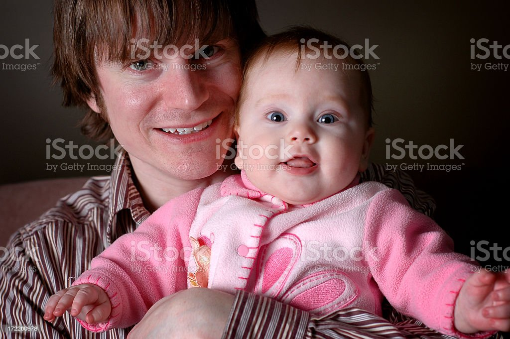 Happy Daddy Holding His Baby Daughter royalty-free stock photo