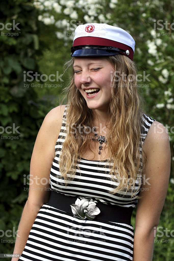 Happy danish student graduated from High School stock photo