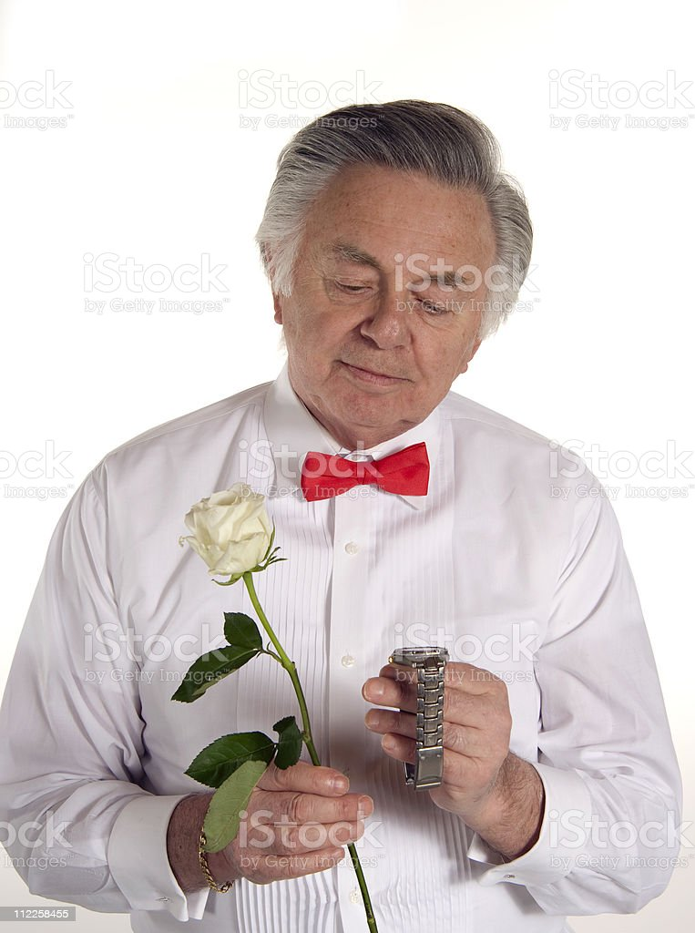 Happy Dating senior dad stock photo