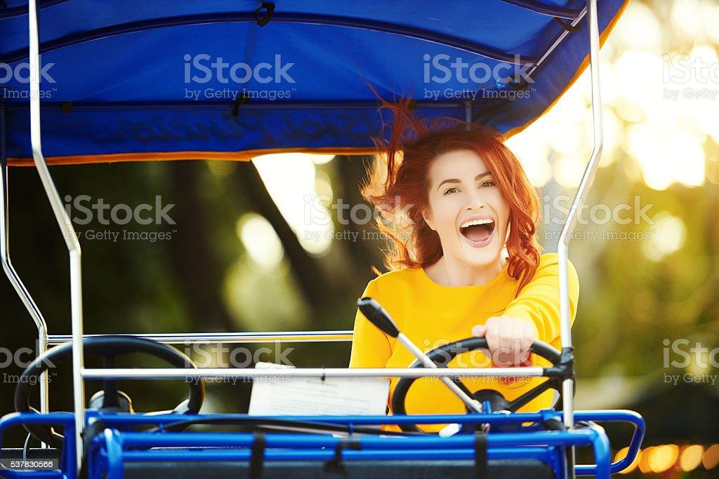 happy day with my quadricycle stock photo