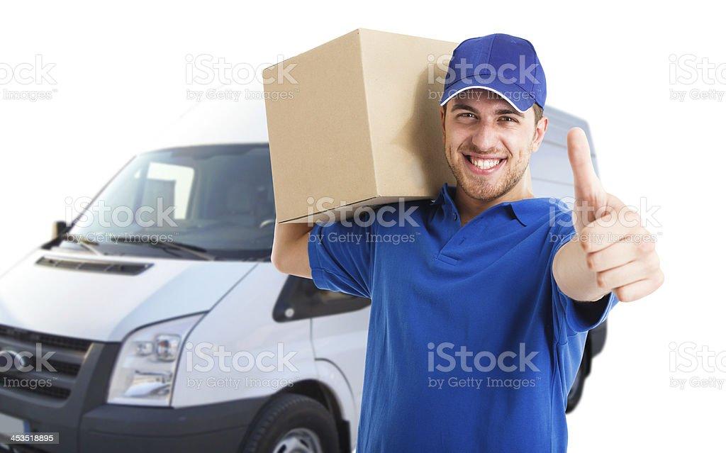 Happy deliverer portrait stock photo
