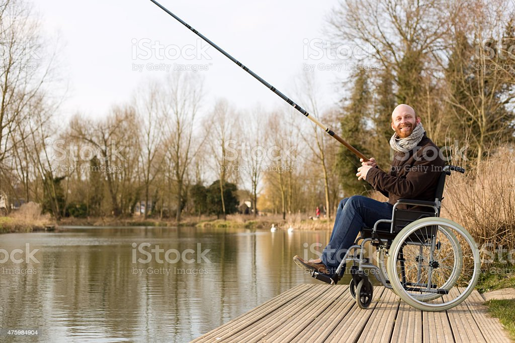 happy disabled man stock photo