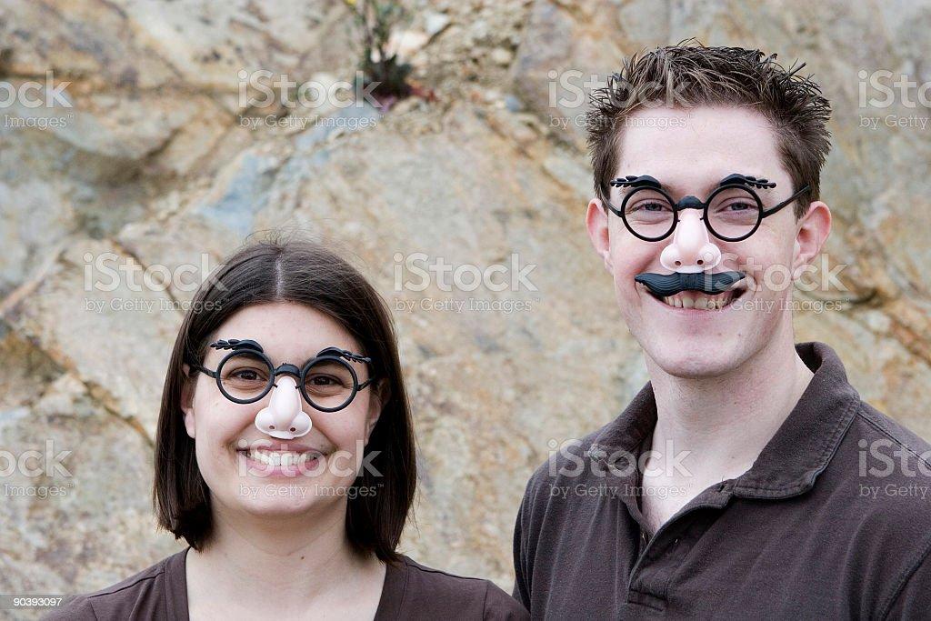 Happy Disguised Couple stock photo