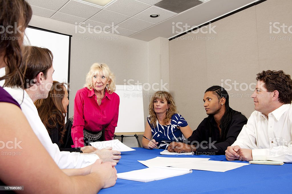 Happy diverse business team at the meeting royalty-free stock photo