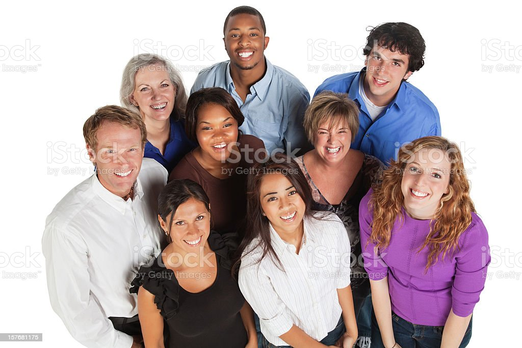 Happy Diverse Group of Friends All Looking Up royalty-free stock photo