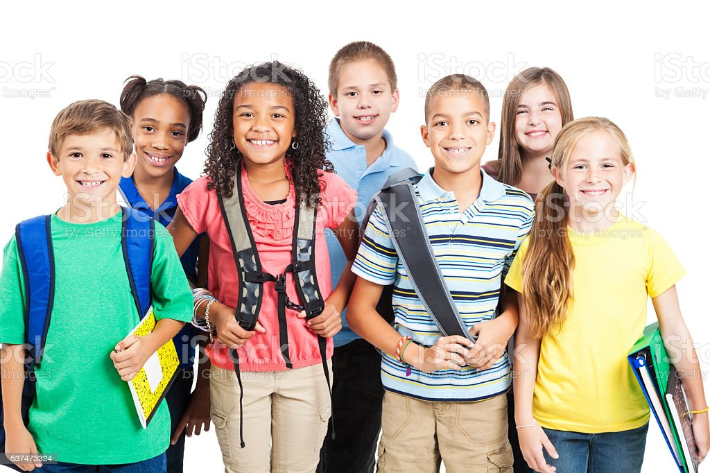 Happy diverse group of students ready for school stock photo