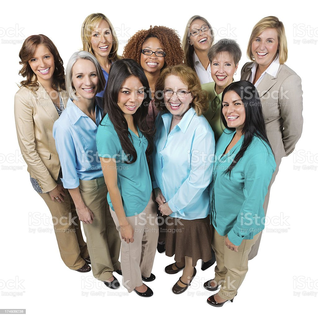 Happy diverse group of women; isolated on a white background royalty-free stock photo