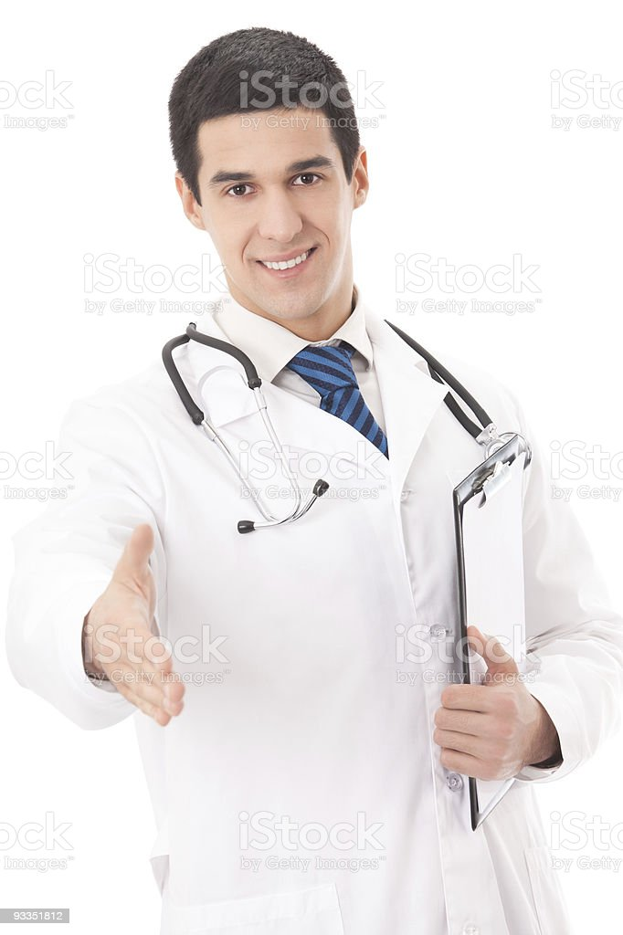 Happy doctor giving hand for handshake, isolated on white royalty-free stock photo