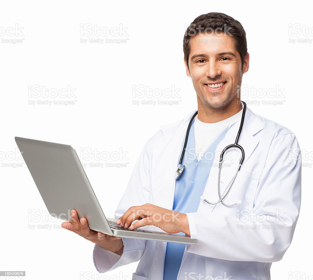 Happy Doctor Using Laptop - Isolated royalty-free stock photo