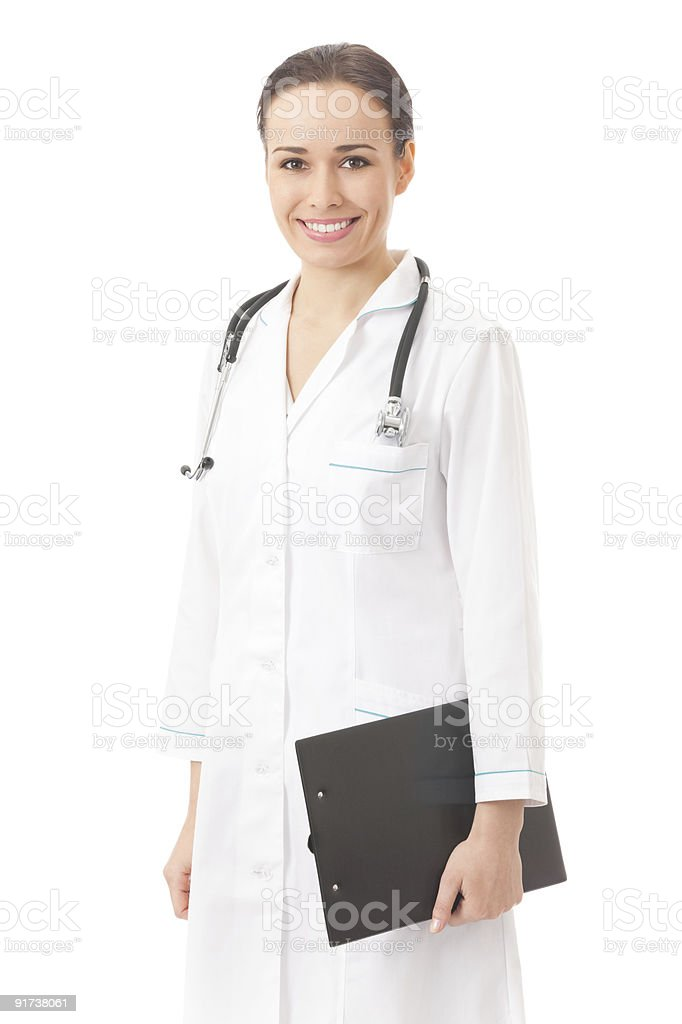Happy doctor with clipboard, isolated on white royalty-free stock photo