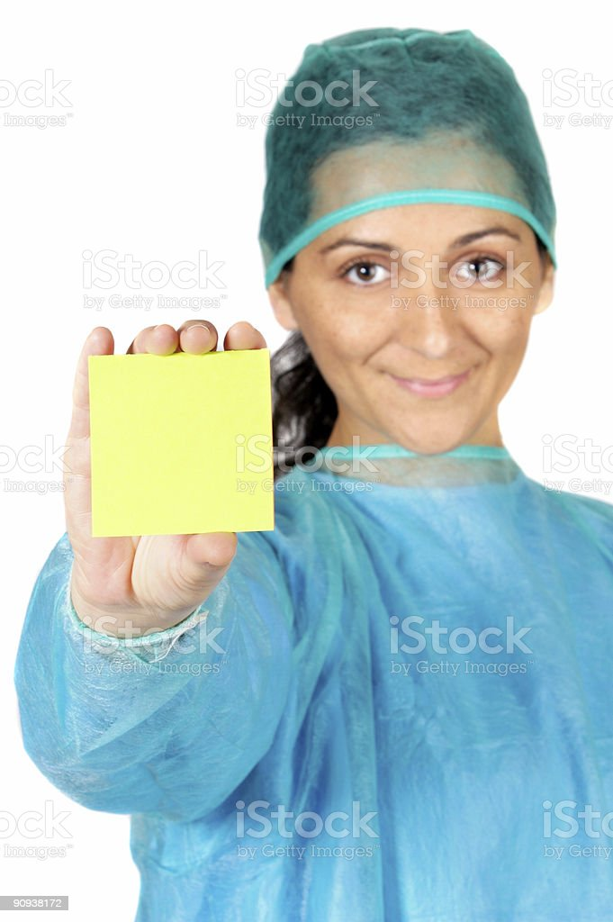 happy doctor with post-in in the hand stock photo