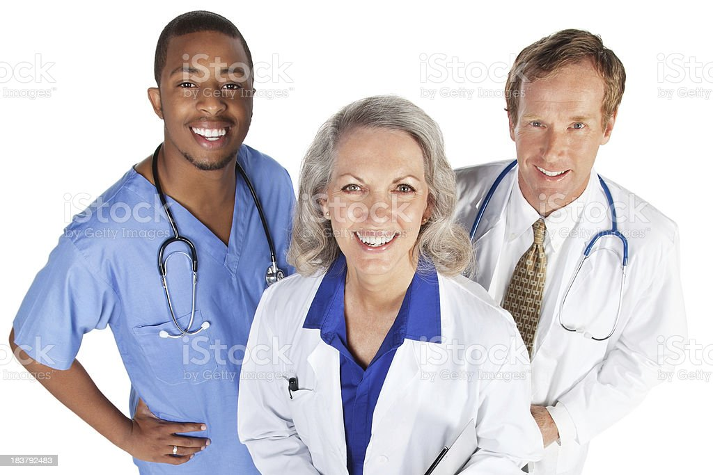 Happy Doctors and Nurse Team, Isolated on White royalty-free stock photo