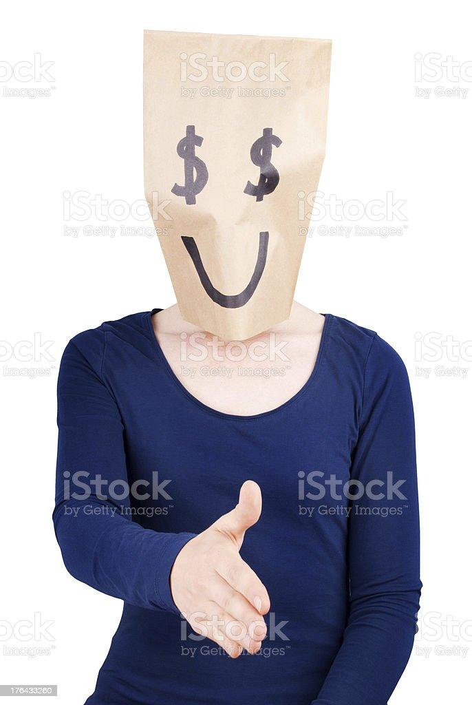 happy dollar sign handshaking stock photo