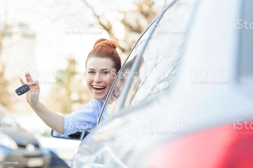 happy driver woman stock photo