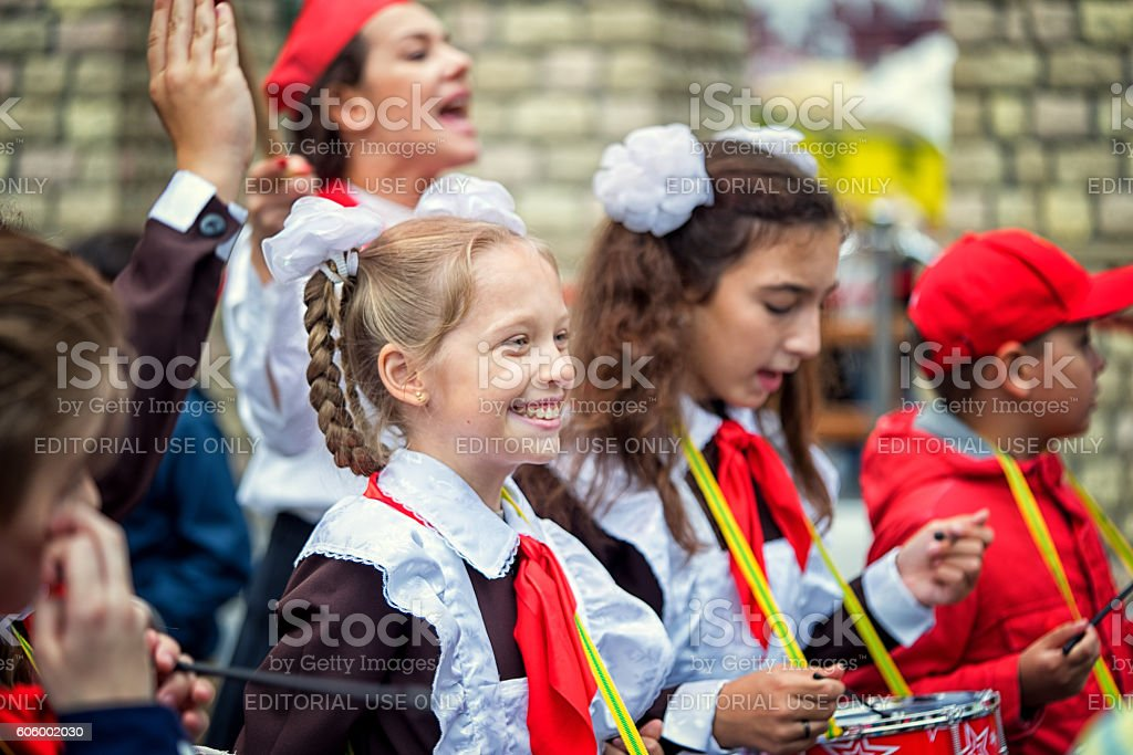 Happy drummer children members of All Union Lenin Pioneer Organization. stock photo