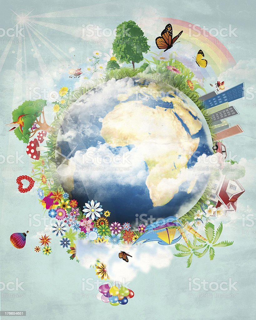 Happy earth design stock photo