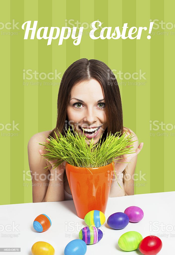 Happy Easter card green royalty-free stock photo