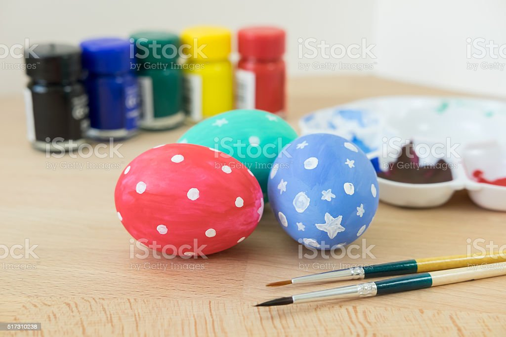 Happy easter! Child painted Easter eggs. stock photo