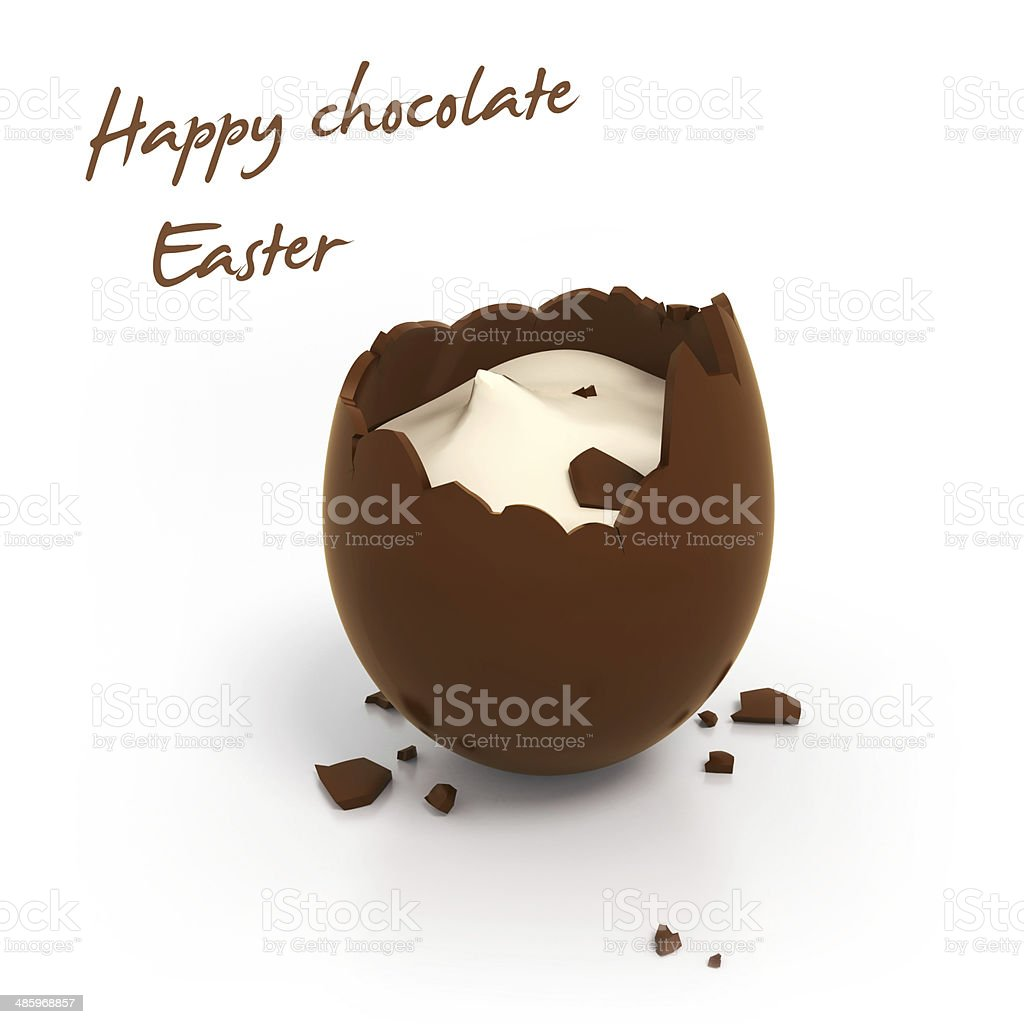 Happy Easter chocolate egg with cream filling stock photo