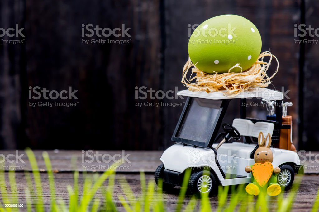 Happy Easter day, bunny and egg, Christians worldwide celebrate stock photo
