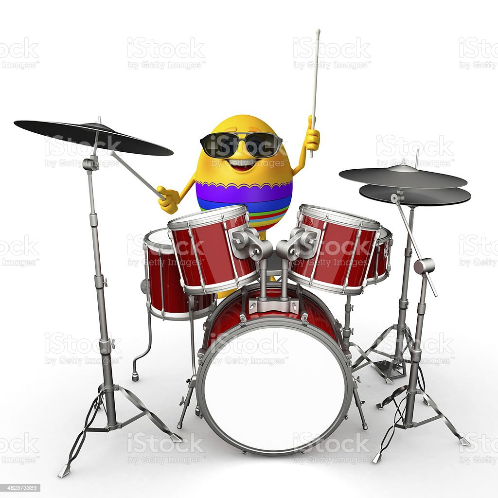 Happy Easter Egg with drum set royalty-free stock photo
