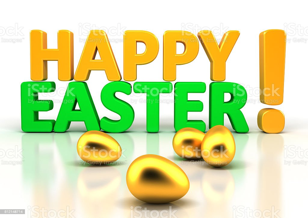 Happy Easter Greeting Isolated on White stock photo