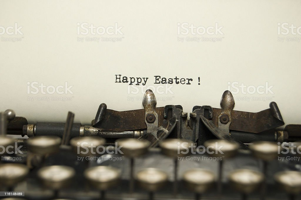 Happy Easter on antique typewriter royalty-free stock photo