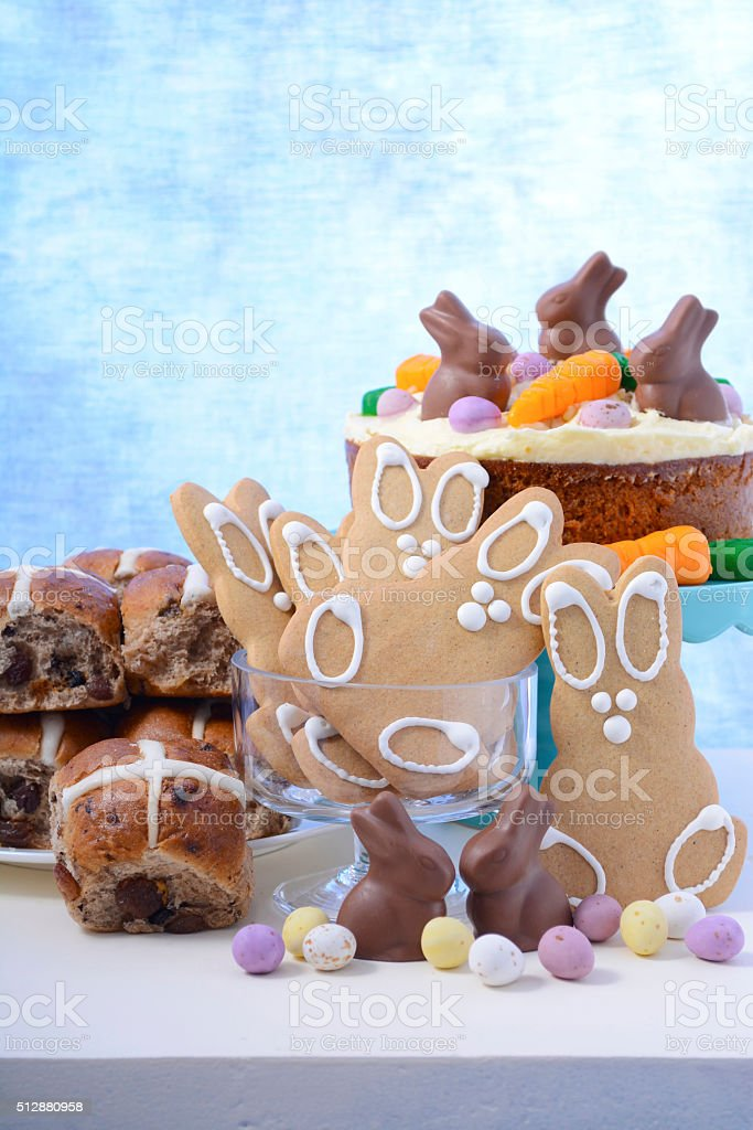 Happy Easter Party Food stock photo