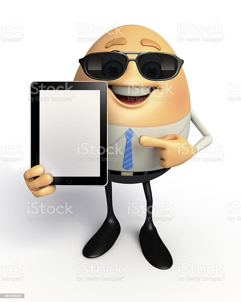 Happy Egg as business man with ipad royalty-free stock photo