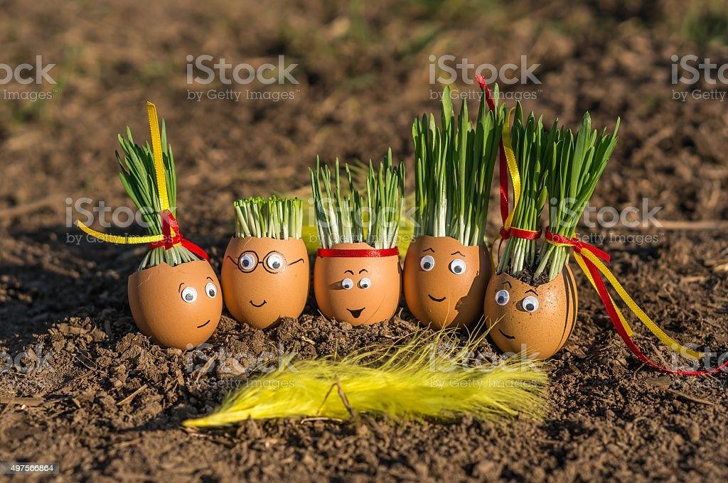 Happy egg family stock photo