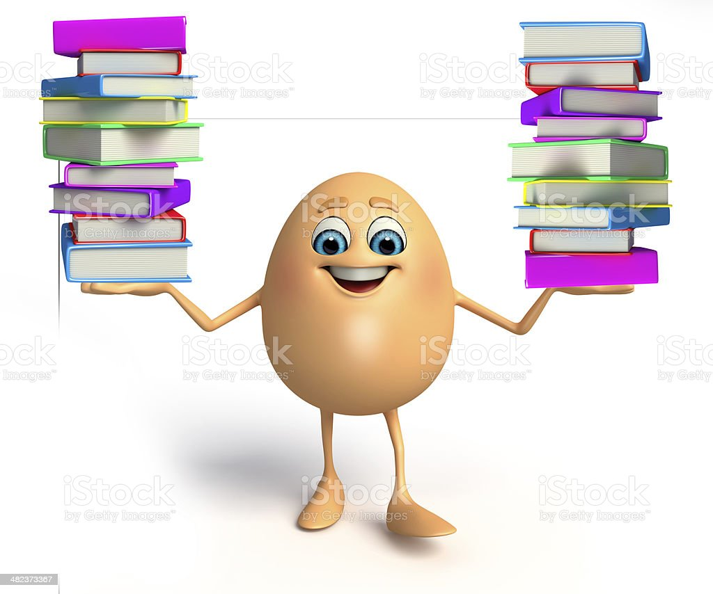 Happy Egg with books pile royalty-free stock photo