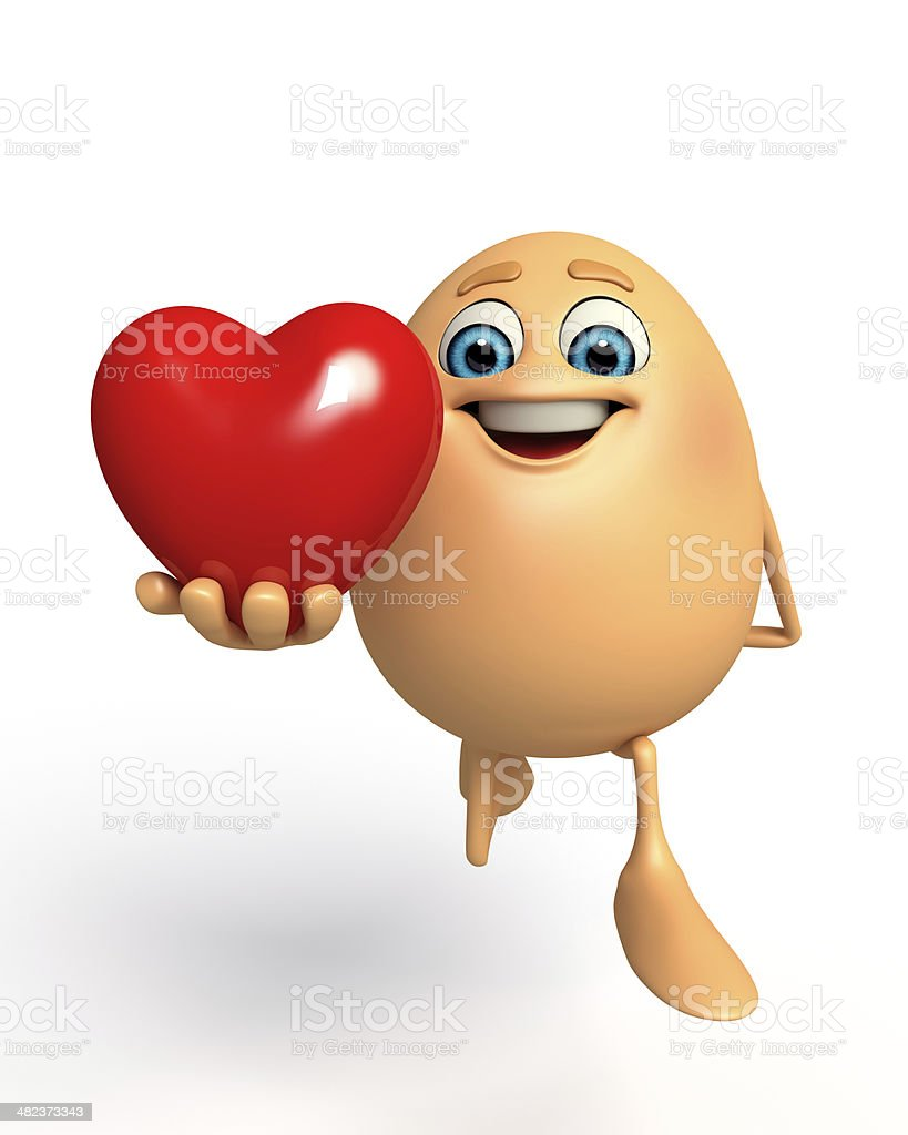 Happy Egg with red heart royalty-free stock photo