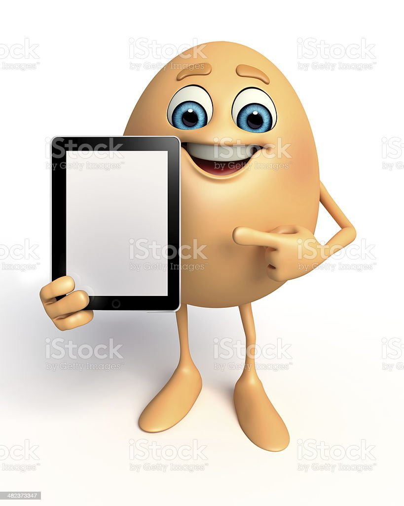 Happy Egg with ipad royalty-free stock photo