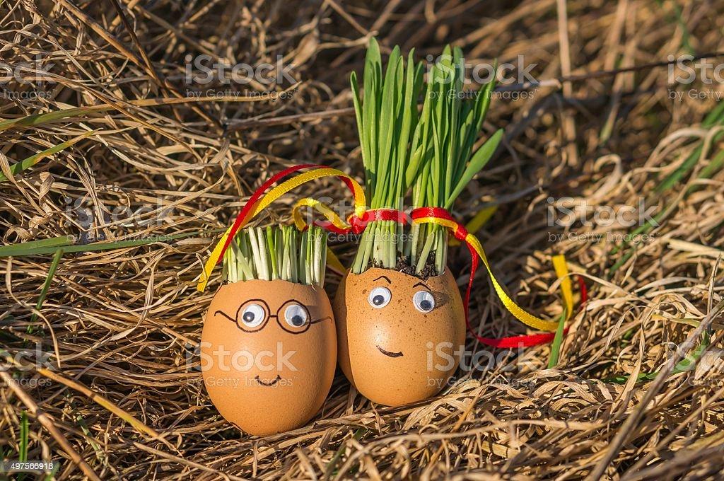 Happy eggs in love stock photo