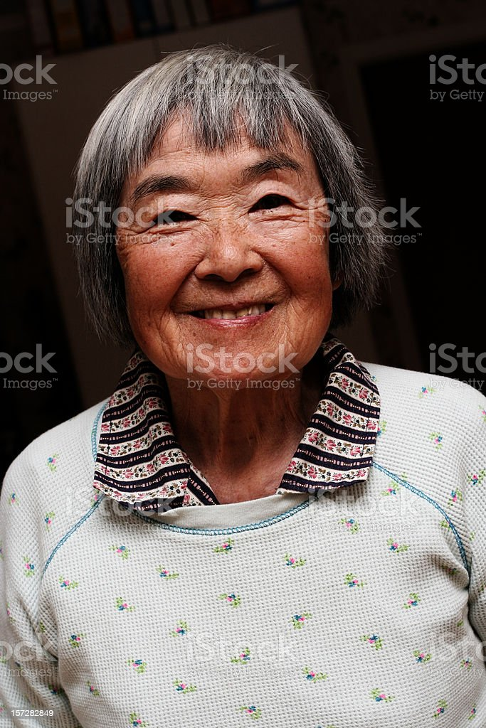 Happy Elder Japanese Woman stock photo
