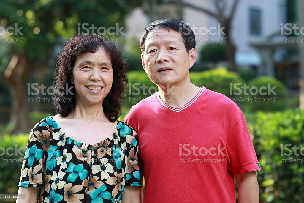 Happy elderly couple in Asia royalty-free stock photo