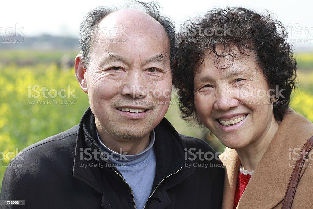 Happy elderly couple in Asia royalty-free stock photo