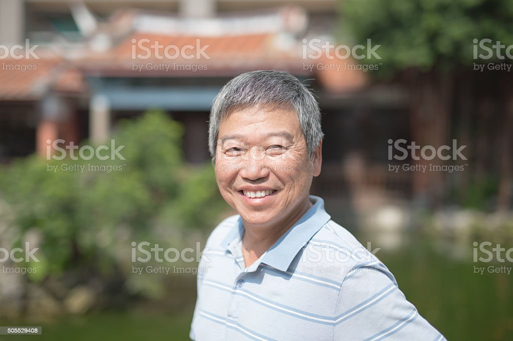Happy elderly man stock photo