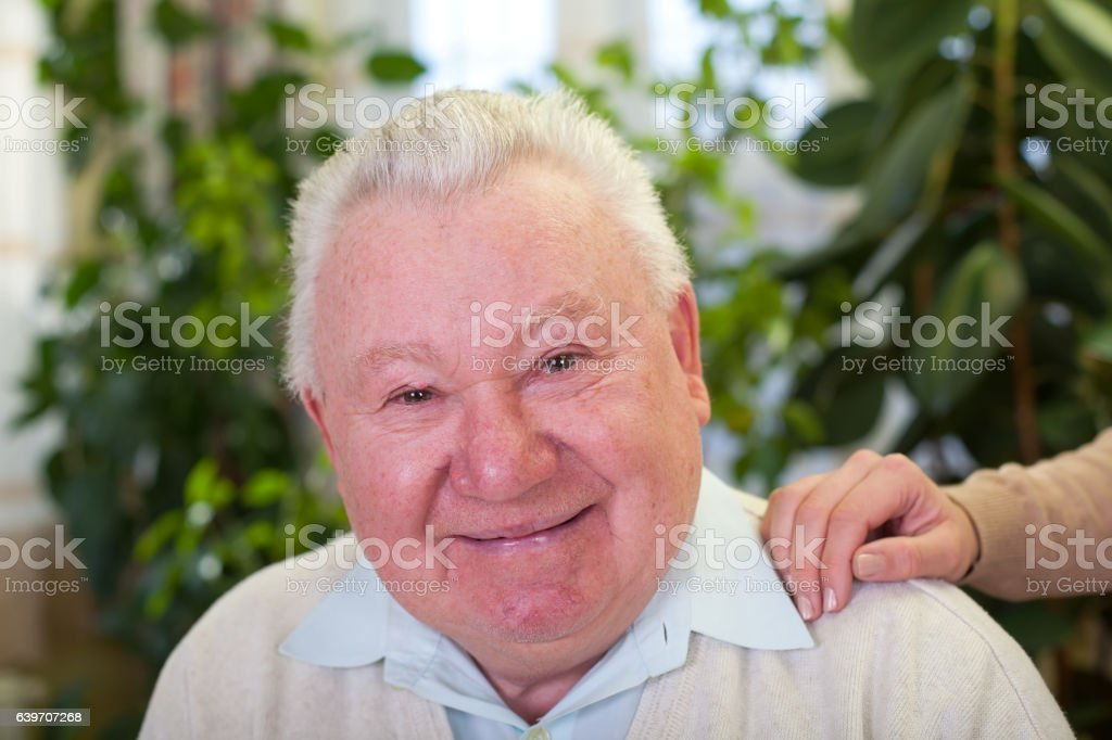 Happy elderly man stock photo