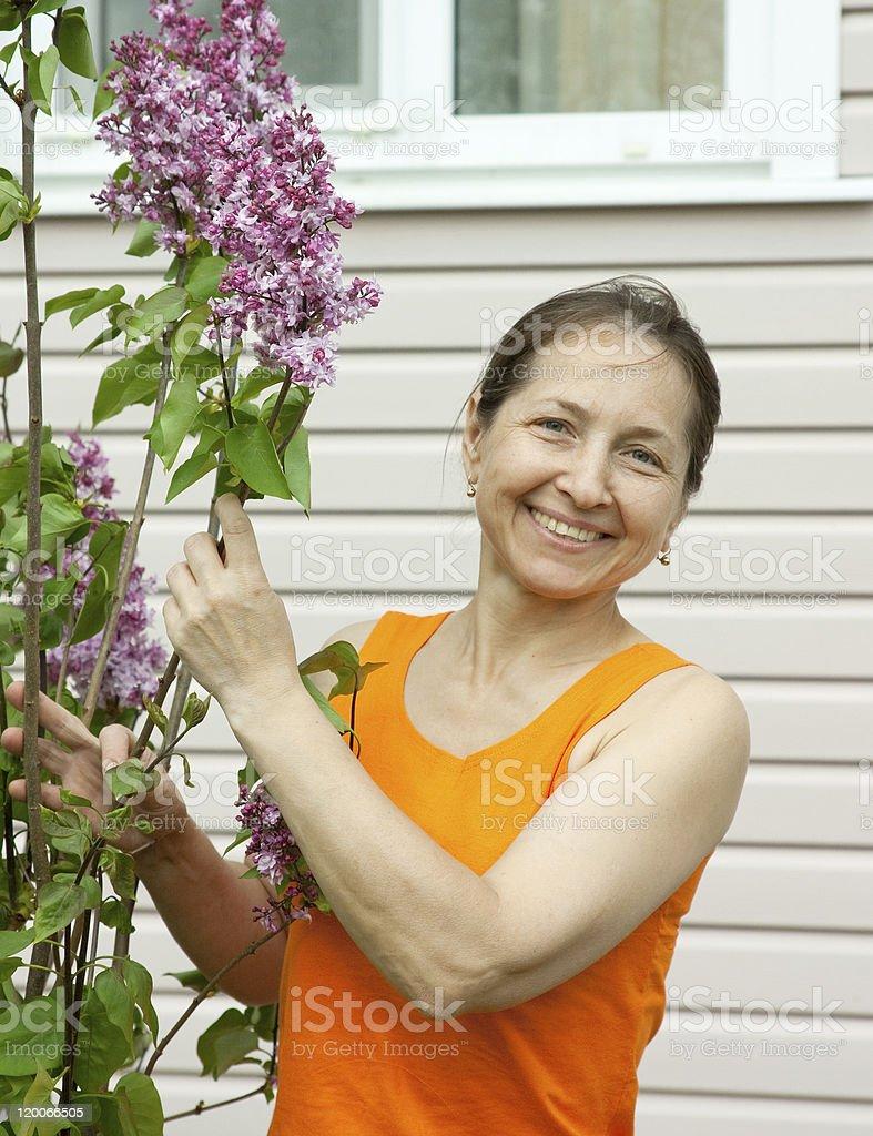Happy  elderly  Woman Gardening royalty-free stock photo